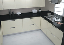 High gloss MDF and acrylic board panels from our supplys: Kitchen: Cream-Black