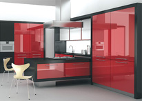 High gloss MDF and acrylic board panels from our supplys: Kitchen: red-Black