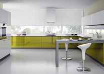 High gloss MDF and acrylic board panels from our supplys: Kitchen: Light green-White