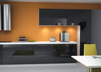 High gloss MDF and acrylic board panels from our supplys: Kitchen: Black-White