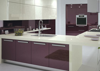 High gloss MDF and acrylic board panels from our supplys: Kitchen: Purple-Cream